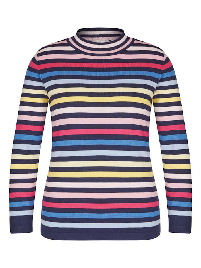 Rabe Pullover mit Allover-Ringeln und Stehkragen, MARINE