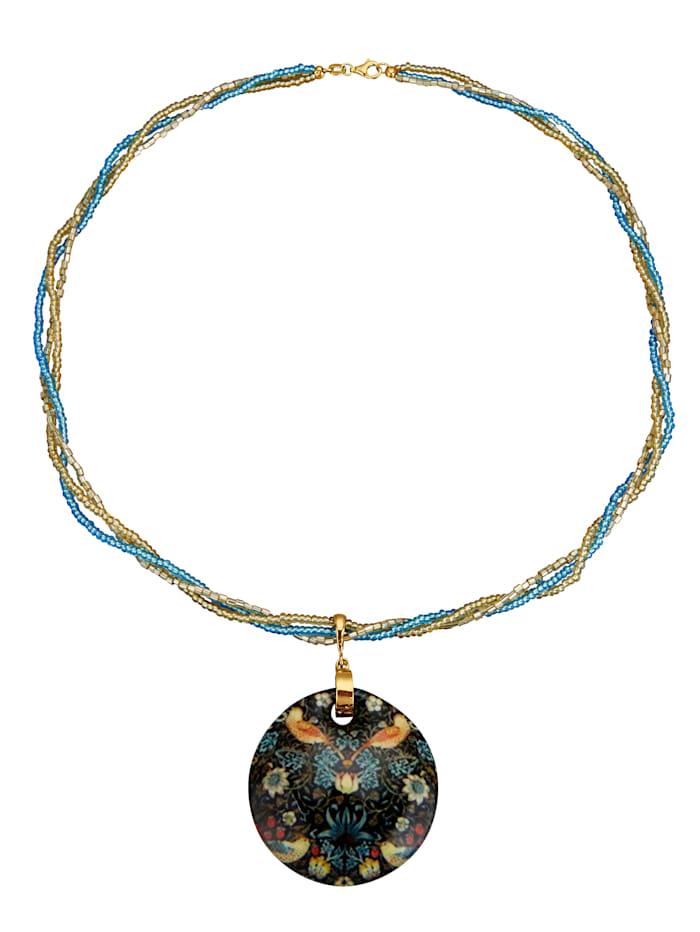 Diemer Highlights Pendentif en verre de Murano avec chaîne, Multicolore