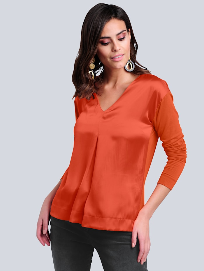 Alba Moda Shirt im Materialmix, Orange