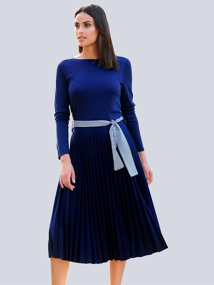 Alba Moda Kleid im Materialmix, Marineblau