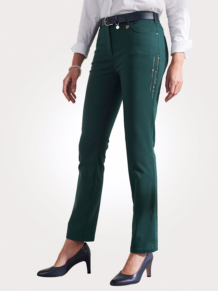 Relaxed by Toni Trousers with decorative details, Emerald