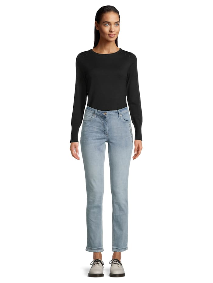 Betty Barclay Slim Fit-Jeans mit Waschung Strass, Blue Bleached Denim