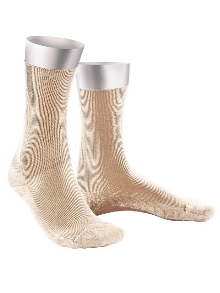 Weissbach KOMFORT-Socke (Baumwolle) ohne einschneidenden Gummibund, Beige