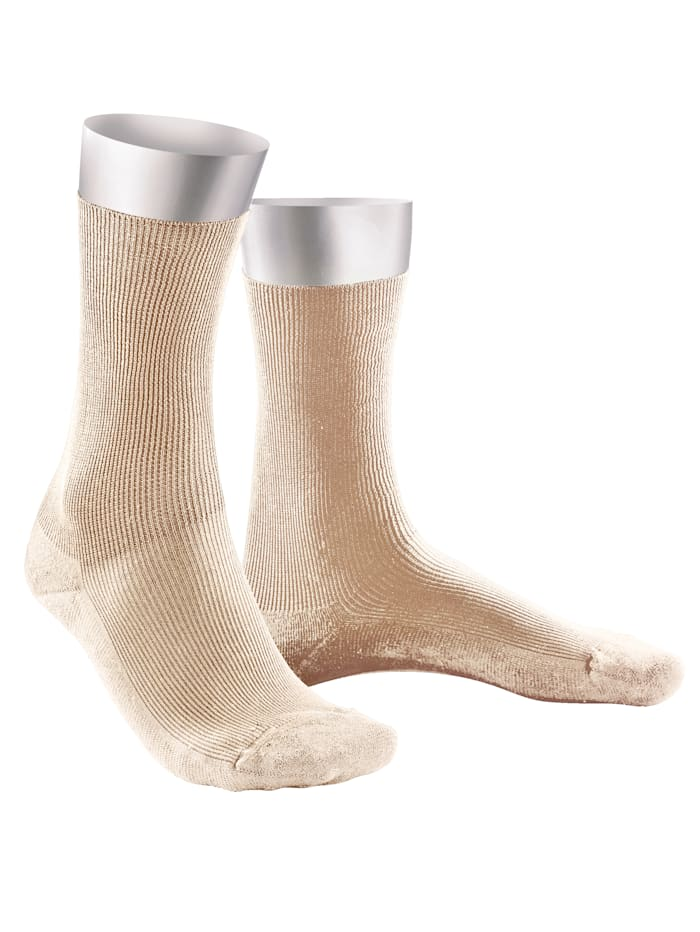 Weissbach Socken ohne einschneidenden Gummibund, Beige