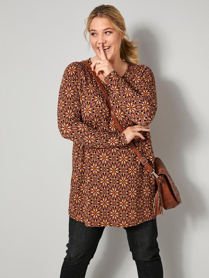 Janet & Joyce Tunika-Shirt mit Alloverprint, Granatrot/Gelb/Cognac/Schwarz