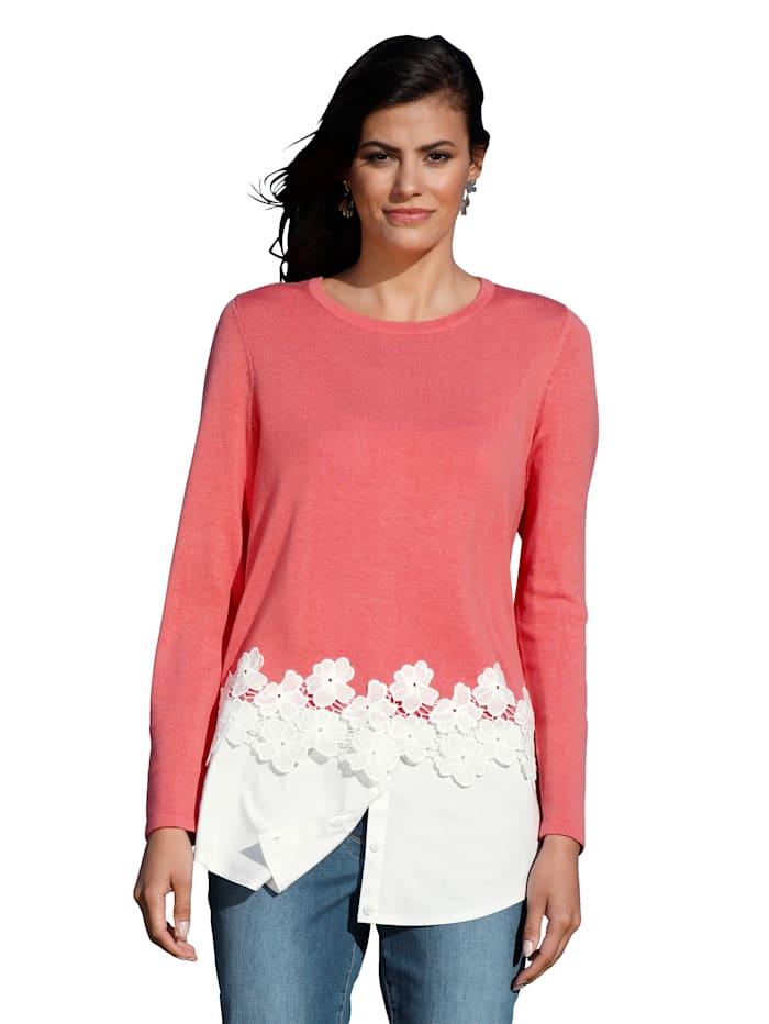 AMY VERMONT Pullover mit Blusenabschluss, Koralle/Weiß