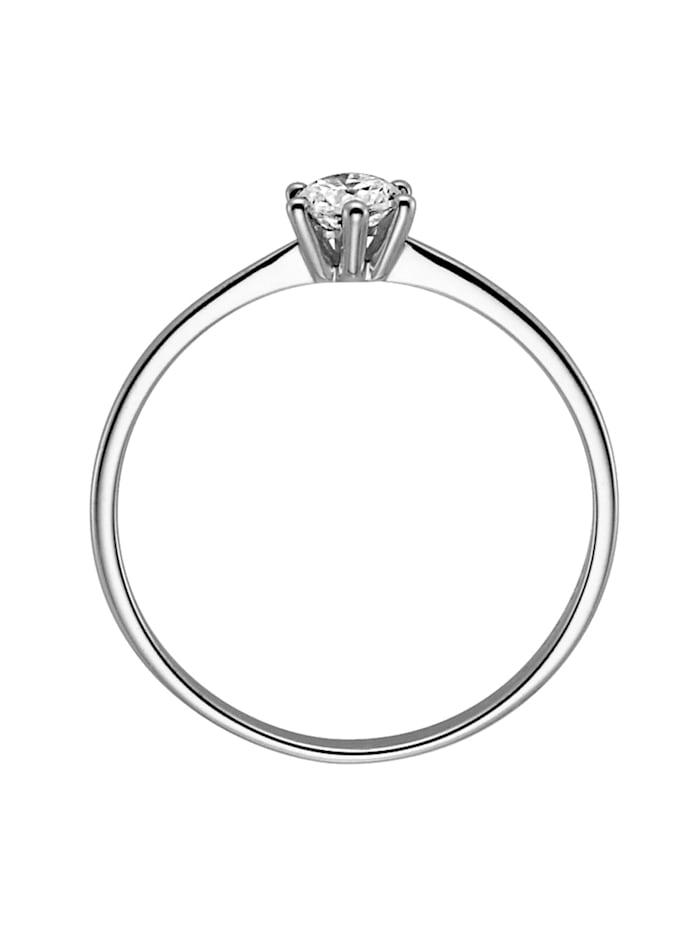 Verlobungsring 585 Weißgold Brillant 0,10 Karat Heiratsantrag