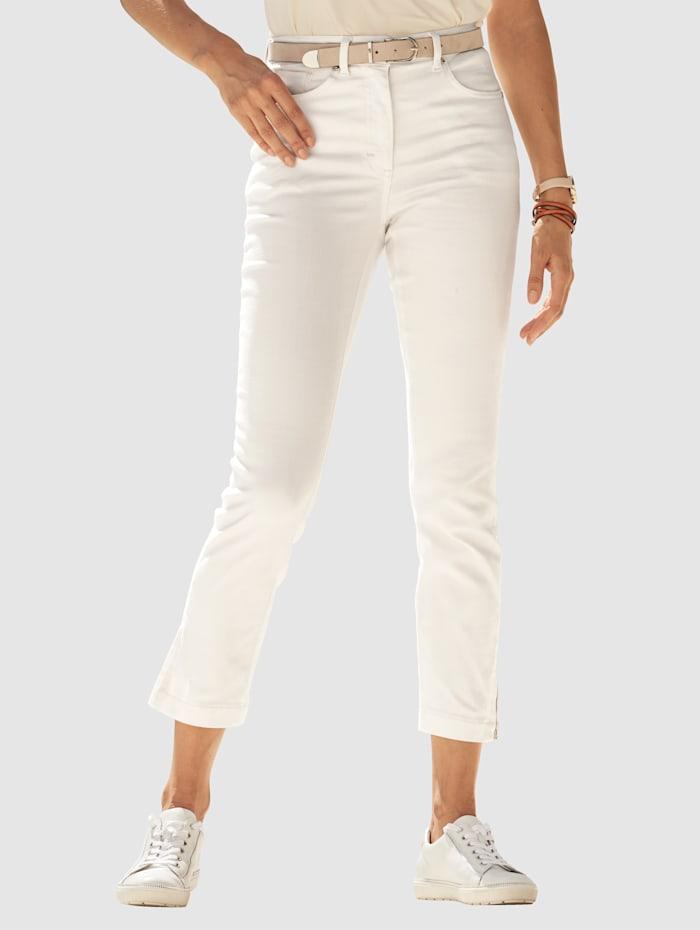 MONA 7/8-Jeans mit Reißverschluss am Beinabschluss, Ecru