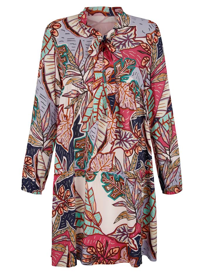 Kleid mit Blätterdruck allover