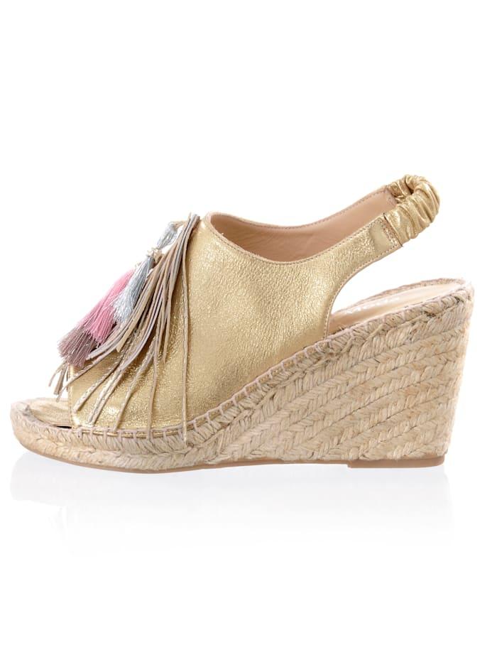 Alba Moda Sandalette in leicht glänzender Metallic-Optik, Goldfarben