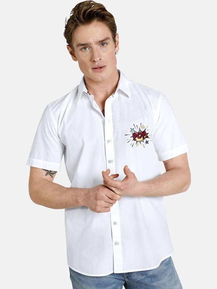 Shirtmaster Shirtmaster Kurzarmhemd popexplosion, weiß