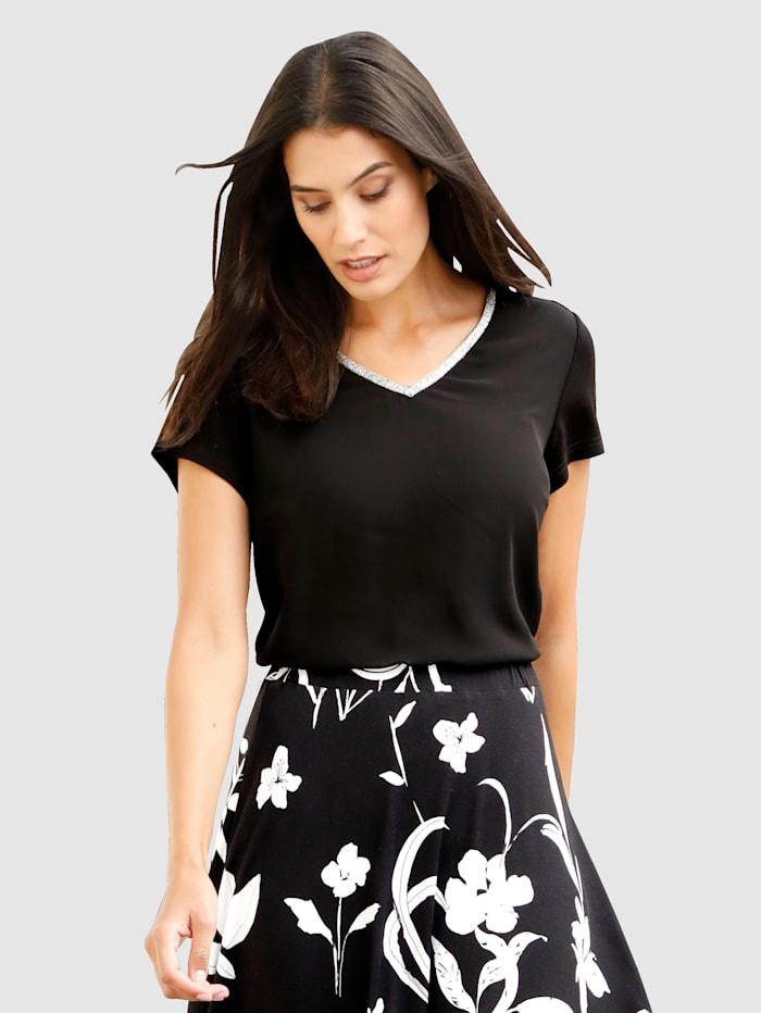 Laura Kent Shirt in dubbellaagse look, Zwart