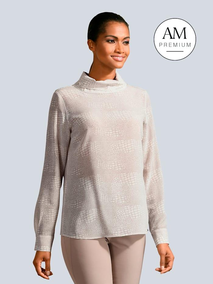 Alba Moda Bluse aus reiner Seide, Creme-Weiß/Beige