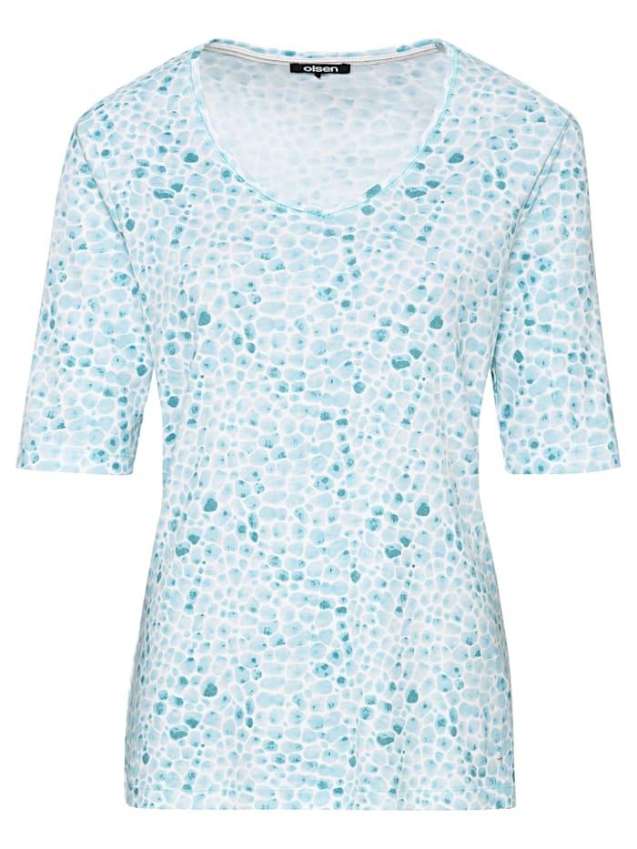 Olsen V-Shirt mit Kieselstein-Print, Aqua Blue