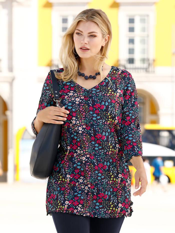 m. collection Longshirt in floralem Druckdesign, Marineblau/Pink
