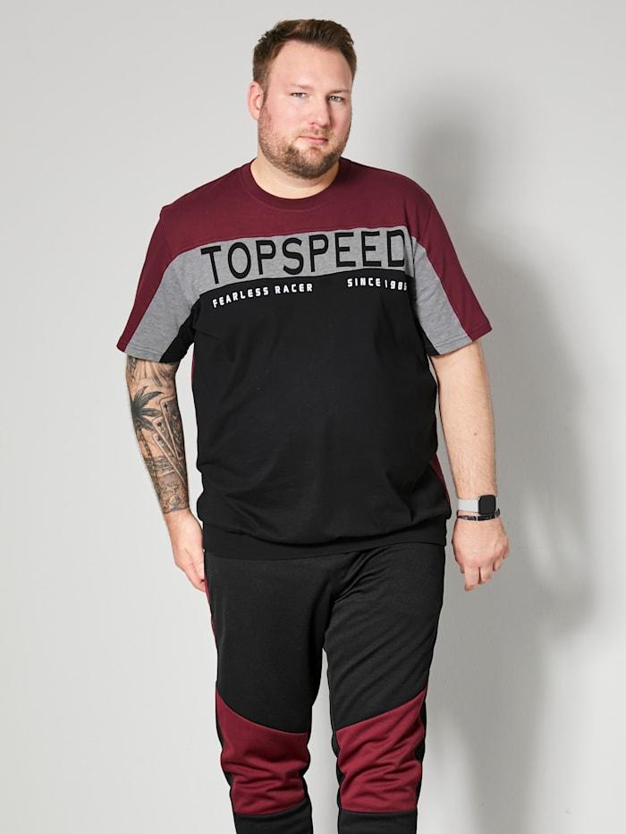 Men Plus T-Shirt Spezialschnitt, Schwarz/Bordeaux