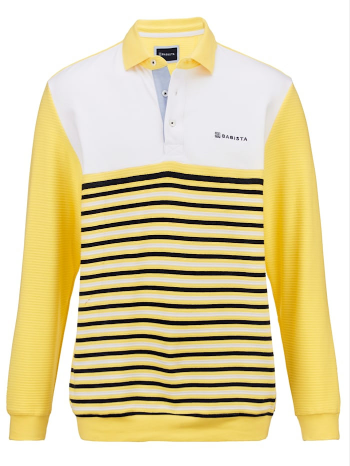 BABISTA Sweatshirt mit auffällig schöner Streifen-Struktur, Gelb/Weiß