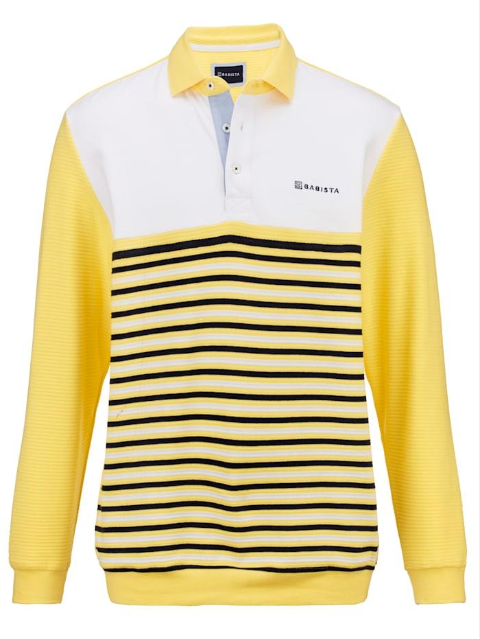 BABISTA Sweatshirt met een opvallend mooie streepstructuur, Geel/Wit
