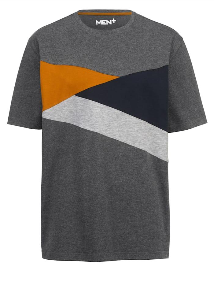 Men Plus T-shirt met colour blocking dessin, Antraciet/Marine
