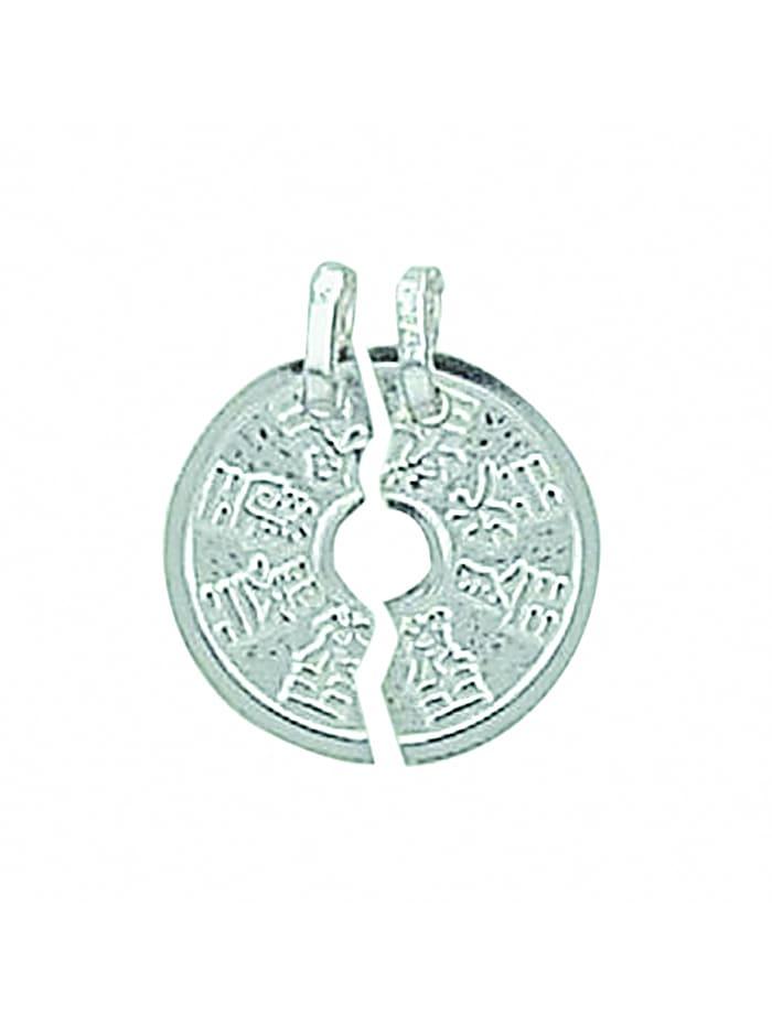 1001 Diamonds Damen Silberschmuck 925 Silber Anhänger Partneranhänger Ø 14,6 mm, silber