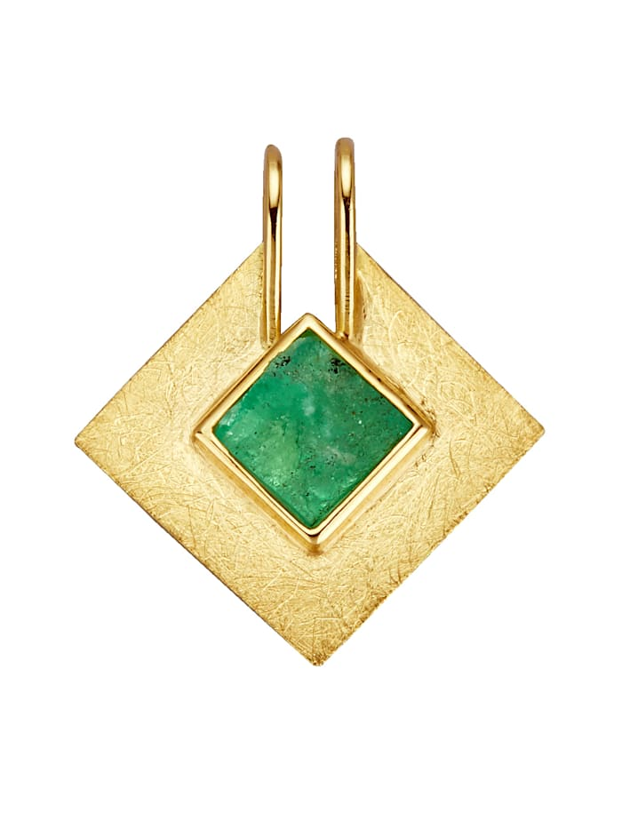 Diemer Farbstein Anhänger mit Roh-Smaragd, Grün