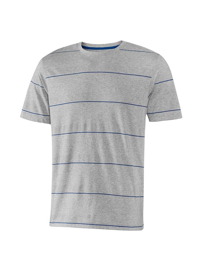 JOY sportswear T-Shirt EMIL, titan melange/kobalt gestreift