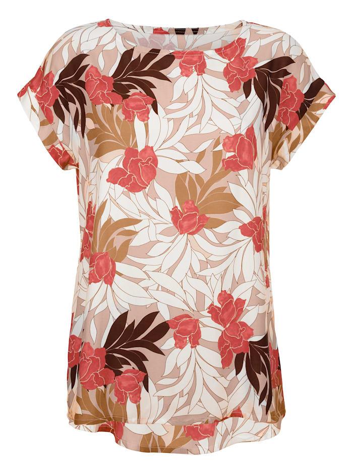 AMY VERMONT Bluse mit floralem Allover Print, Rosé/Weiß/Koralle