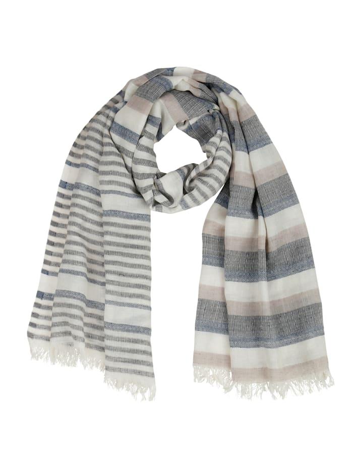 MONA Sjaal, ecru/blauw