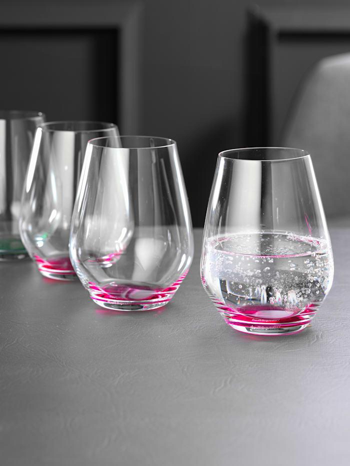Villeroy & Boch 4 glas med färgad botten – Colourful Life, cerise, ljung (cerise)