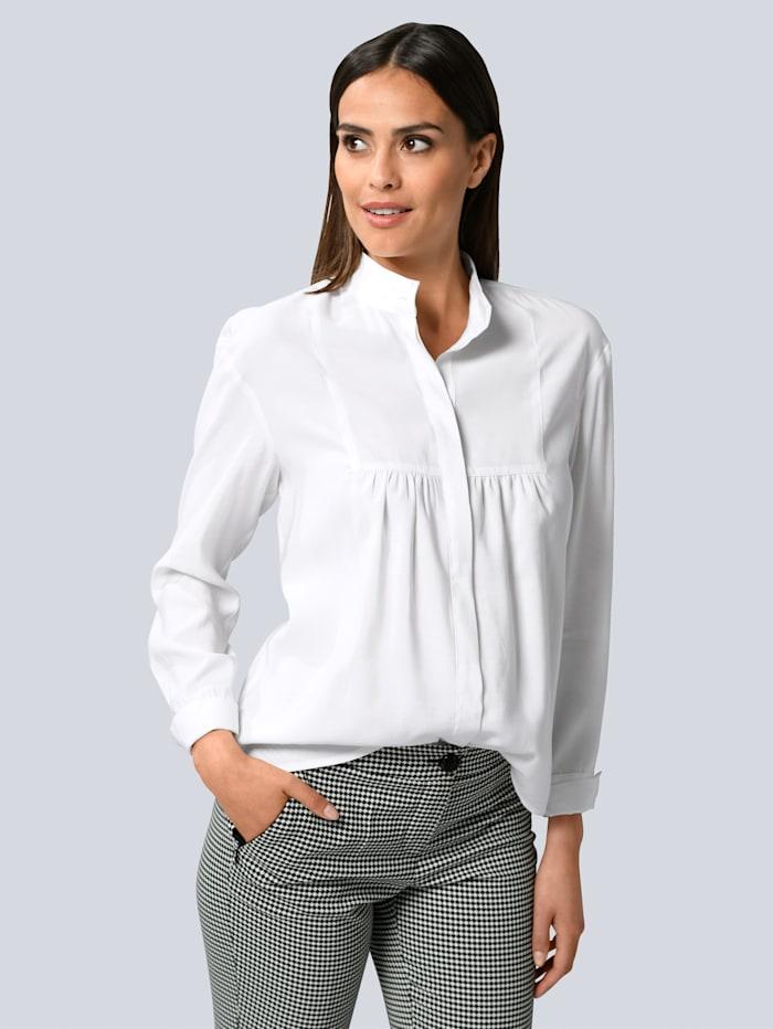 Alba Moda Bluse mit Faltendetail am Ausschnitt, Weiß