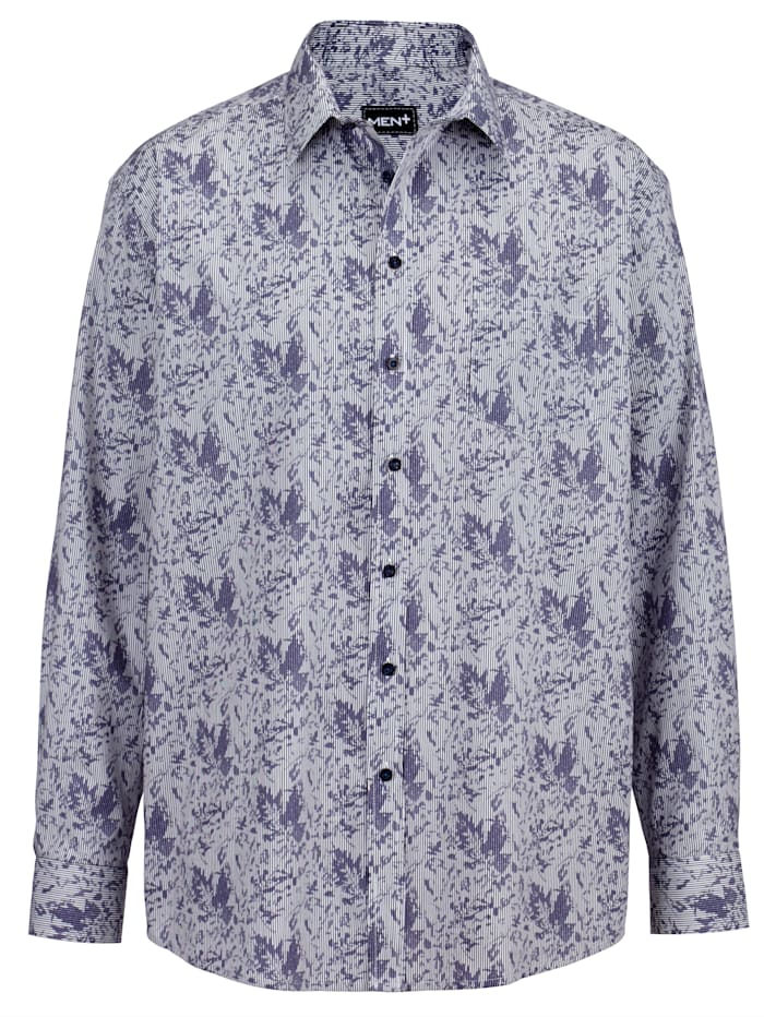 Men Plus Hemd aus reiner Baumwolle, Weiß/Marineblau