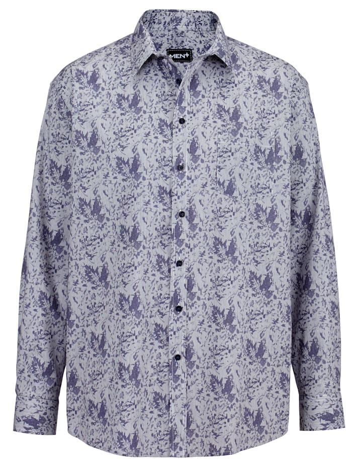 Men Plus Košeľa z čistej bavlny, Biela/Námornícka