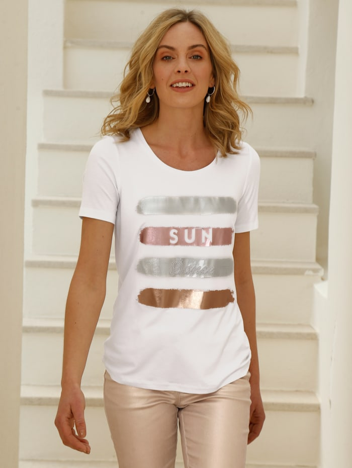 AMY VERMONT Shirt mit Foliendruck im Vorderteil, Weiß