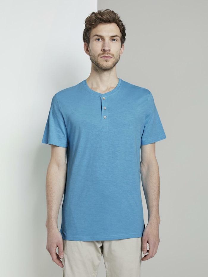 Tom Tailor Basic Henley-T-Shirt in Melange-Optik, crystal sea blue