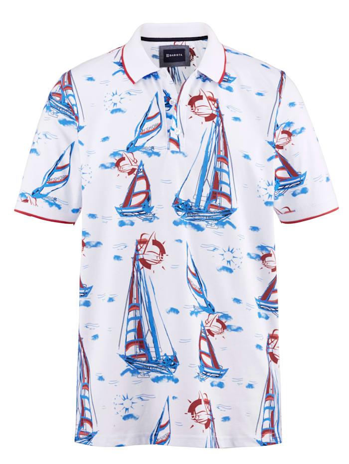 BABISTA Polo tričko s námorníckou potlačou, Biela