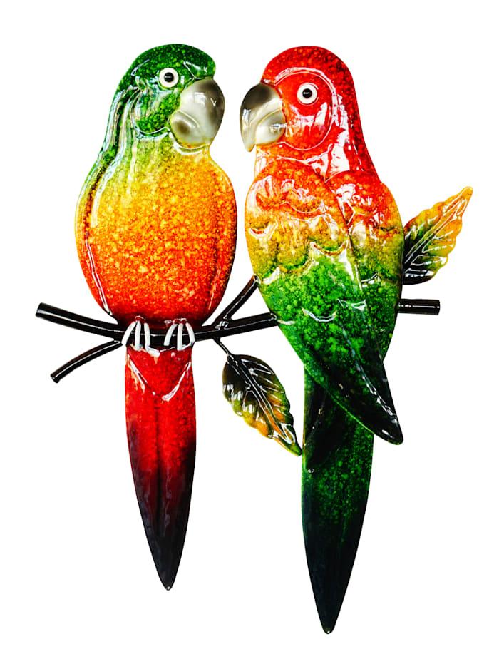 Wanddecoratie Papegaaienpaar, multicolor