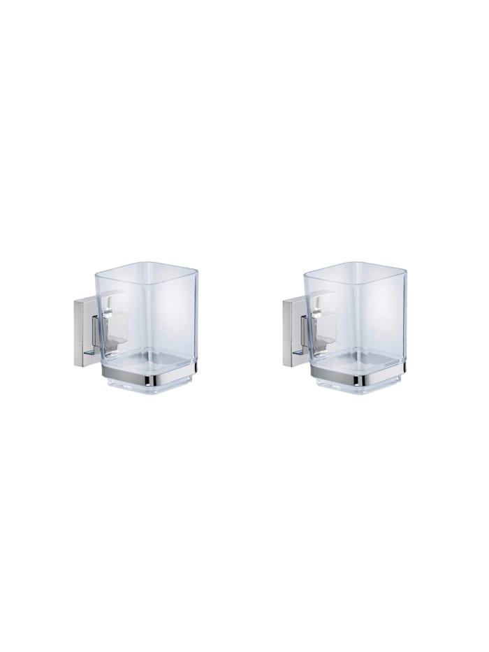 Wenko Vacuum-Loc® Zahnputzbecher Quadro 2er Set Edelstahl, Befestigen ohne bohren, Glänzend, Loc: Chrom, Becher: Transparent