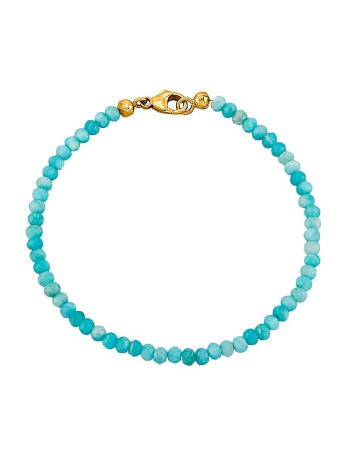 Amara Highlights Bracelet d'amazonites avec fermoir mousqueton en argent 925, doré, Vert