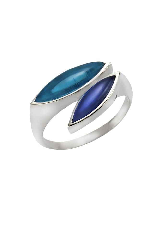Jamelli Ring 925/- Sterling Silber Quarz (beh.) blau Glänzend 925/- Sterling Silber, weiß