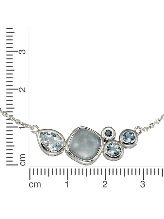Collier 925/- Sterling Silber Blautopas beh. blau 48cm Glänzend