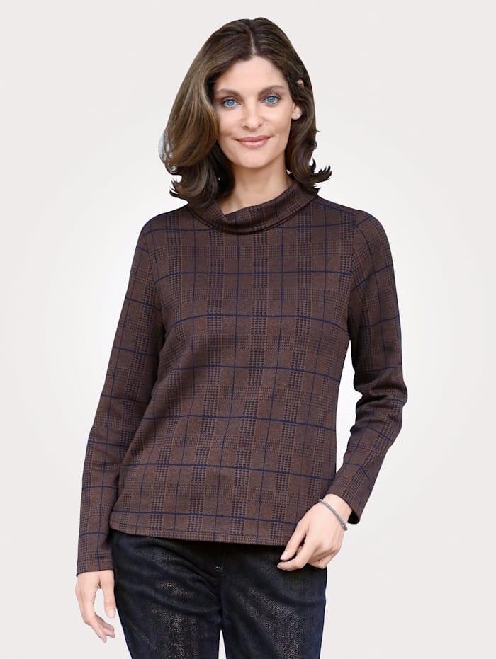 MONA Sweatshirt mit Hahnentrittmuster, Braun/Marineblau