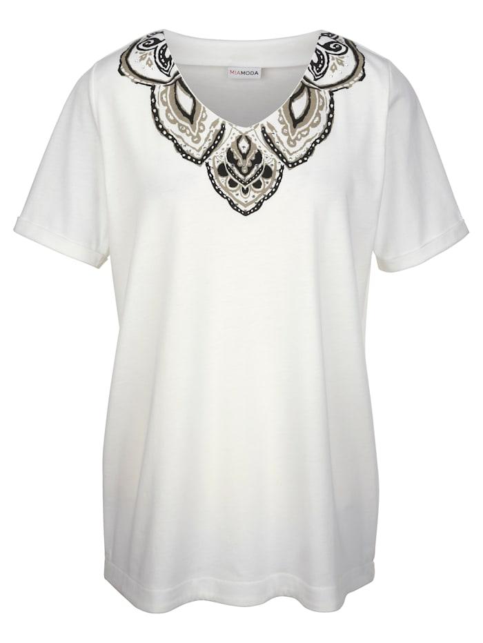 Shirt met print en kraaltjes bij de hals