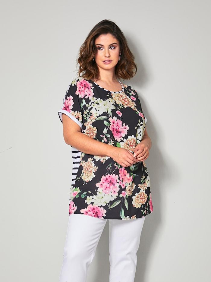 Sara Lindholm Shirt hinten gestreift, Schwarz/Pink