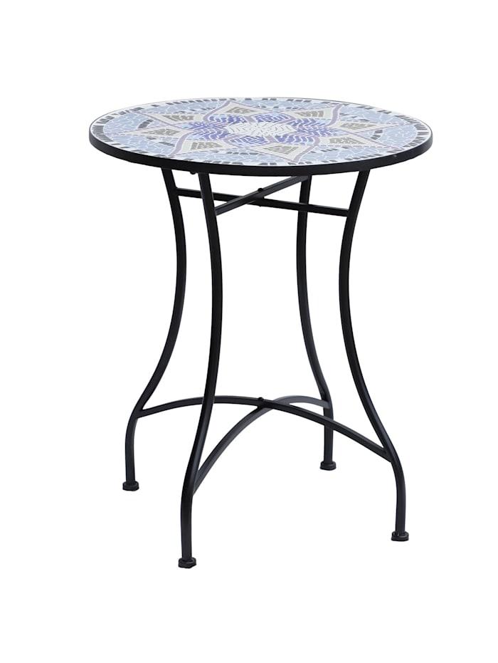 Outsunny Mosaiktisch rund, blau, weiß, schwarz