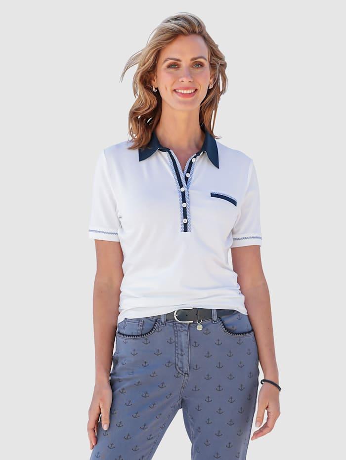 MONA Poloshirt mit dekorativer Polo-Knopfleiste, Weiß/Marineblau