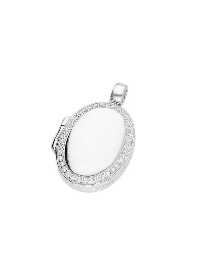 Giorgio Martello Anhänger Medaillon oval mit Zirkonia, Silber