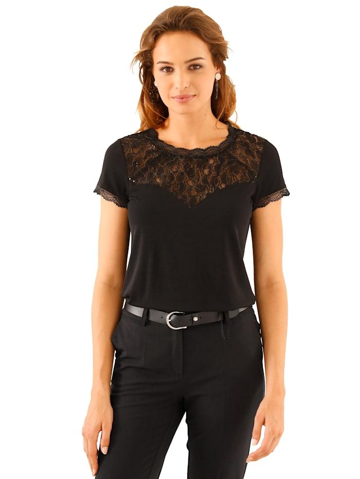 Shirt mit Spitzen-und Paillettenzier