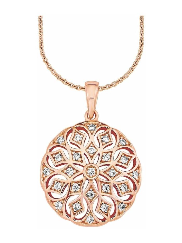amor Kette mit Anhänger für Damen, Sterling Silber 925, Zirkonia Ornament, Roséfarben