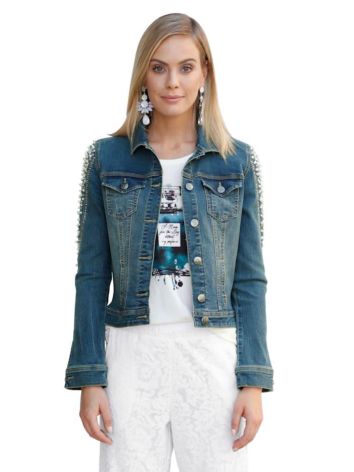 AMY VERMONT Veste en jean à perles et strass, Blue bleached