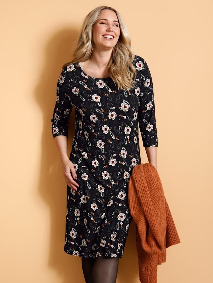 MIAMODA Robe à imprimé floral, Noir/Orange/Blanc